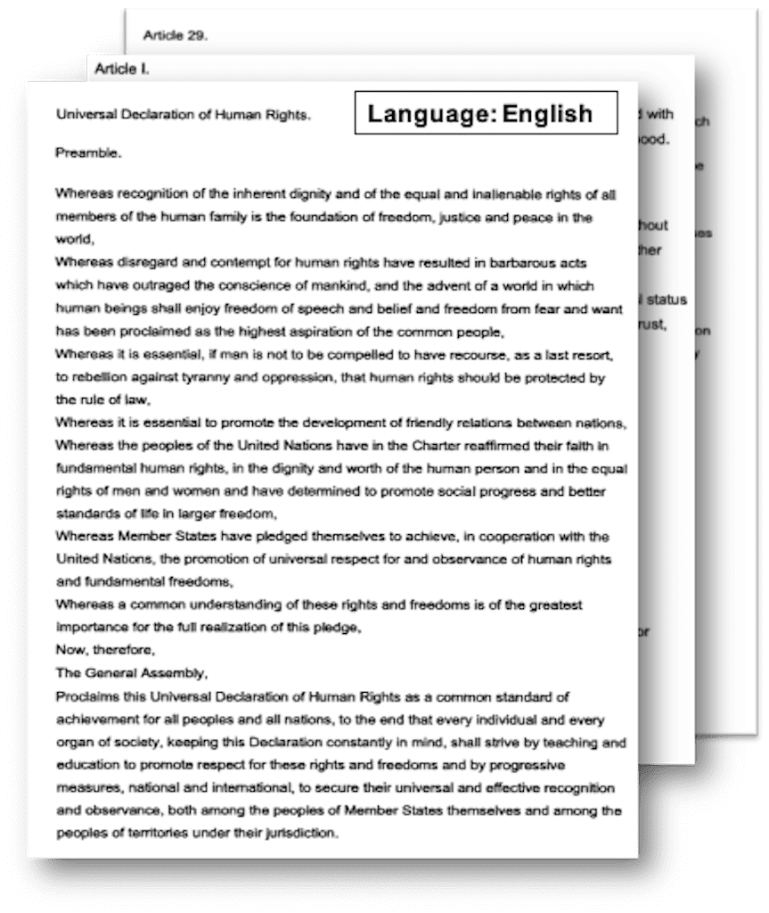 screenshot of a sample scanned document-UN Declaration of Human Rights in english