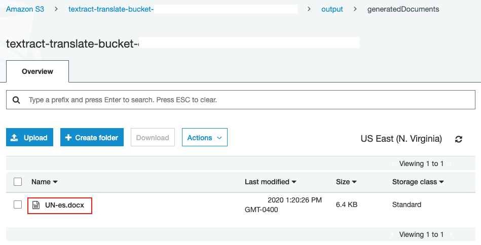 screenshot of S3 bucket output folder where translated document is located.