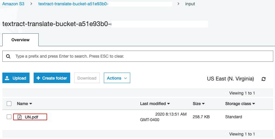 screenshot of S3 bucket uploaded with the document for translation