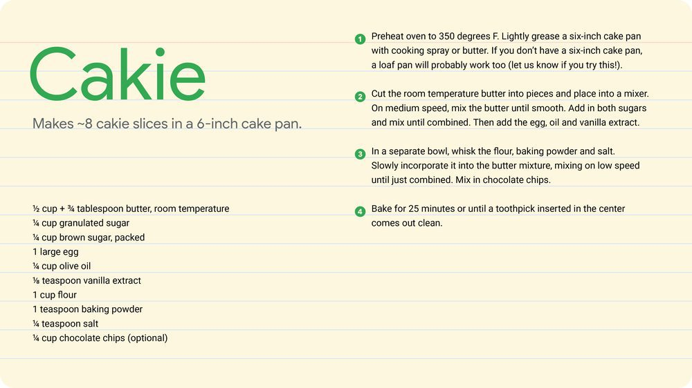A recipe card for a cakie.