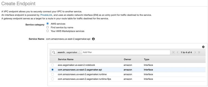 Make sure you choose the same VPC, subnet, and security group used by your EC2 instance.