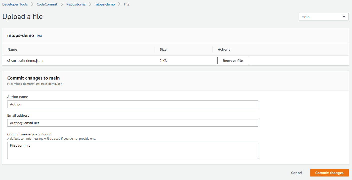 shared services codecommit repo