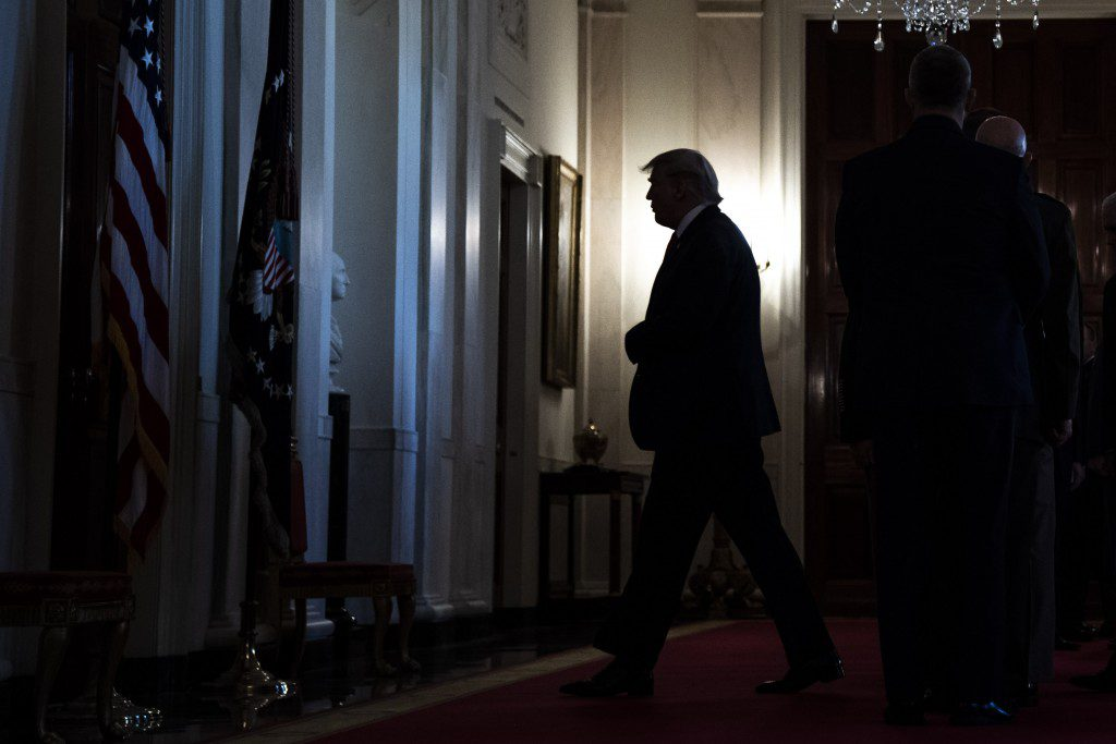 WASHINGTON, DC - JANUARY 8 : President Donald J. Trump departs after addressing the nation from the Grand Foyer at the White House on Wednesday, Jan 08, 2020 in Washington, DC. President Trump said no Americans were killed or wounded when Iranian forces launched more than a dozen ballistic missiles against two military bases in Iraq early Wednesday local time, marking the most significant Iranian attack in a growing conflict with the United States. (Photo by Jabin Botsford/The Washington Post via Getty Images)