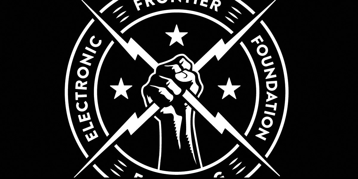A fist holding two electric bolts, with circular text reading 'ELECTRONIC FRONTIER FOUNDATION'