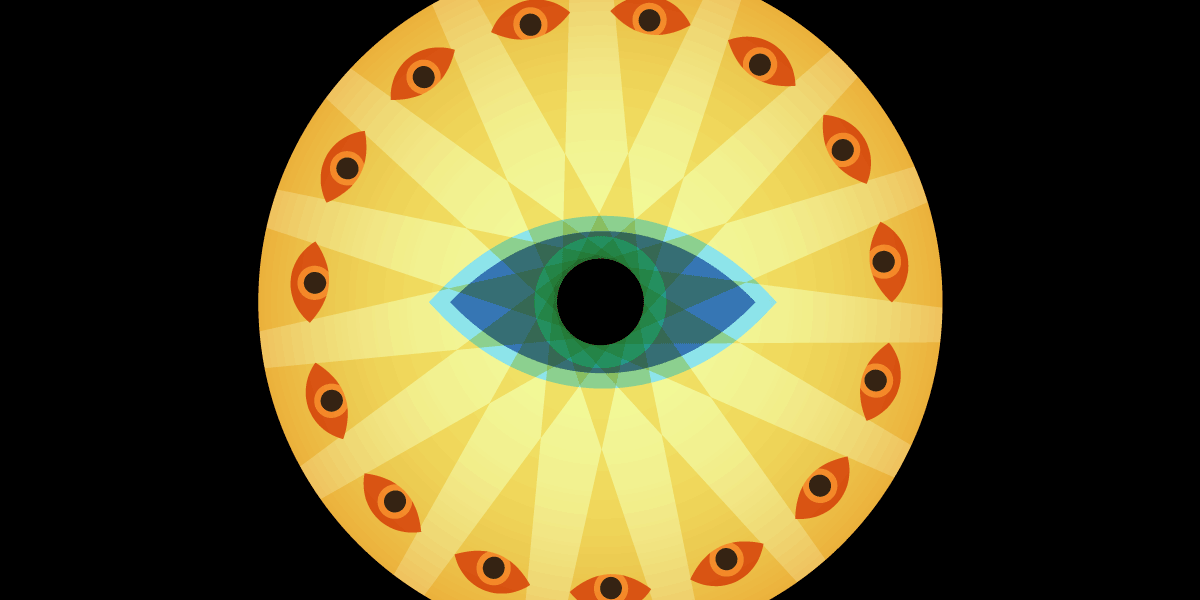 A creepy opticon eye surrounded by other eyes.