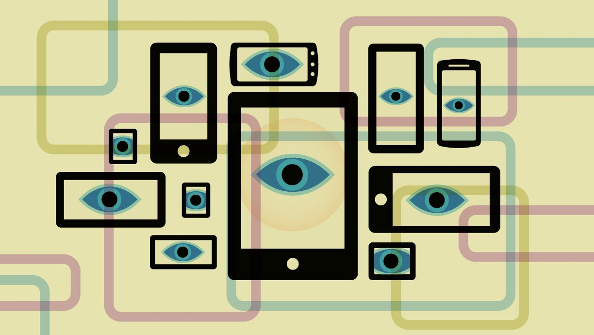 Overlapping mobile devices with spying eyes, and pastel colors.