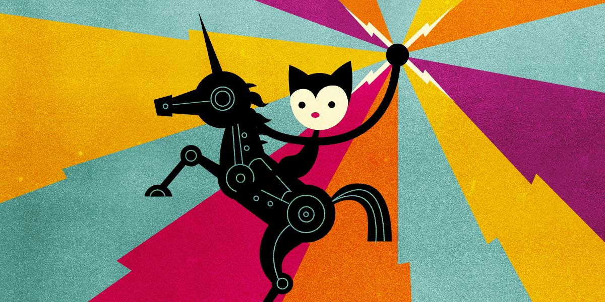 Cat riding a unicorn with lightning bolts in his hands.