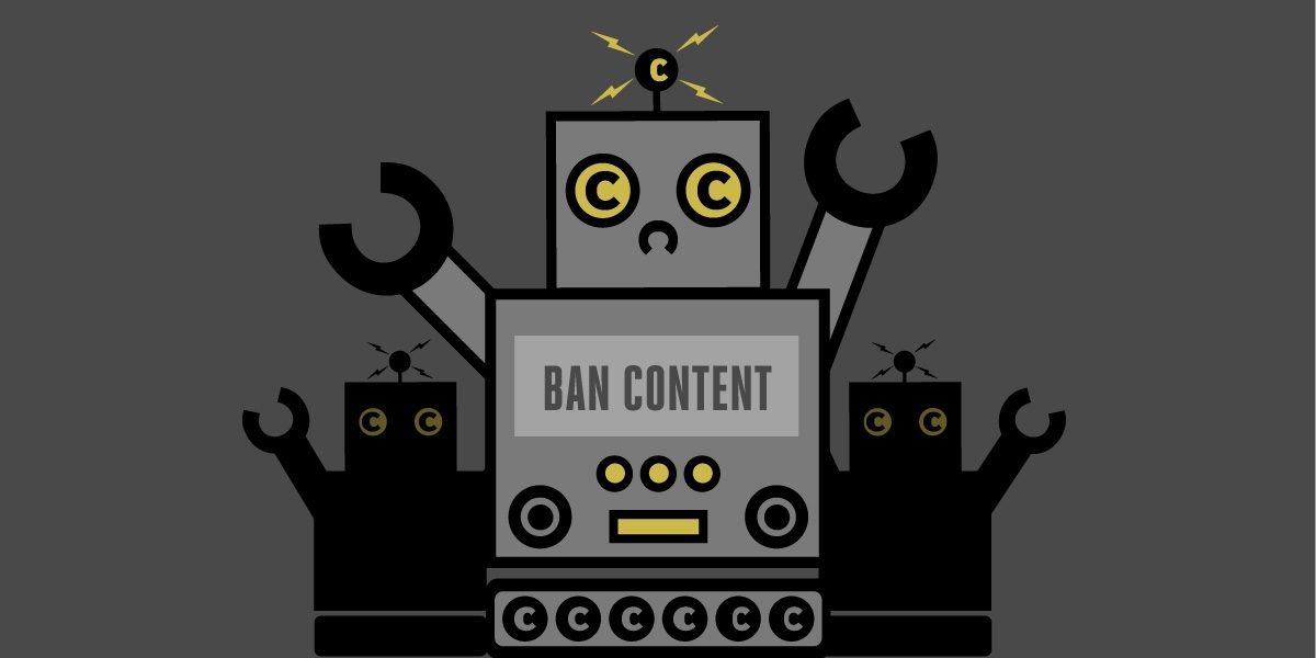 Robots gathering with the intent of banning content based on copyright claims.