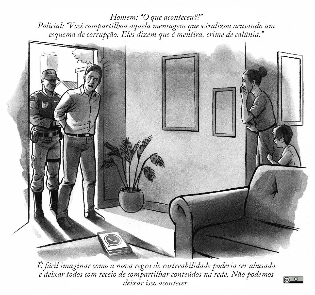 A Brazilian political cartoon of a man being arrested by a police officer in his home.