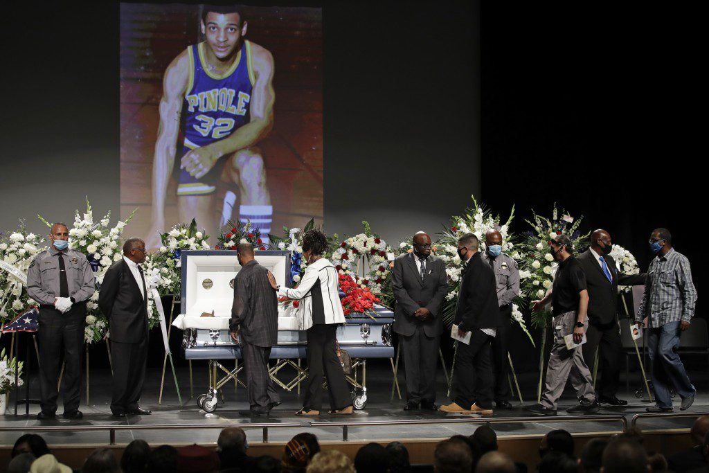 Mourners view the body of Federal Protective Services Officer Dave Patrick Underwood after a memorial service on Friday, June 19, 2020, in Pinole, Calif.