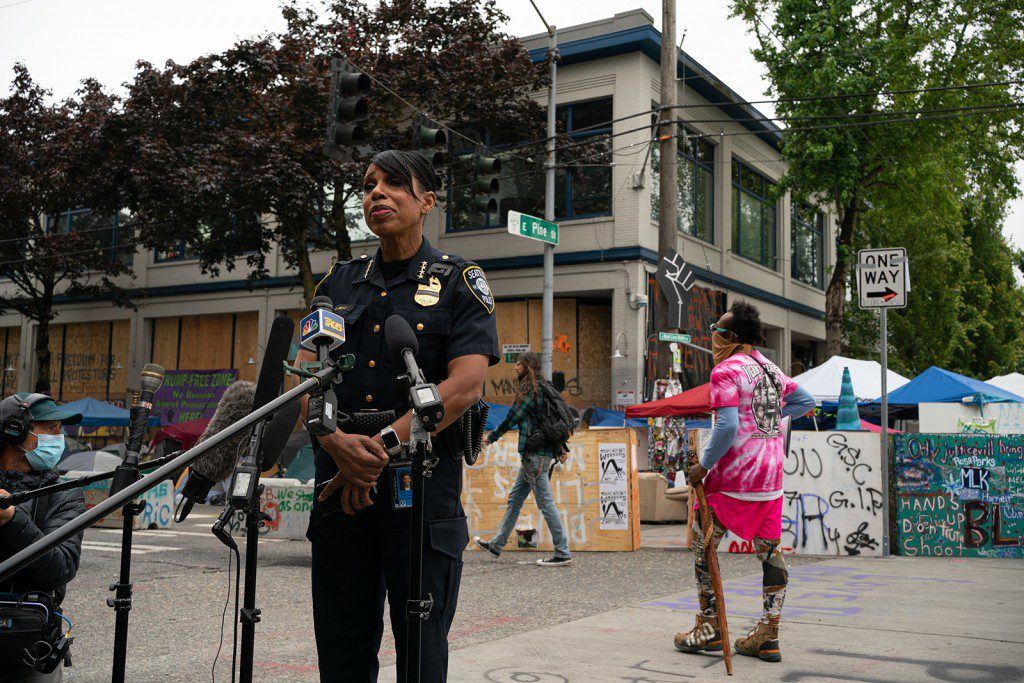 SEATTLE, WA - JUNE 29: Seattle Police Chief Carmen Best holds a press conference outside of the departments vacated East Precinct in the area known as the Capitol Hill Organized Protest (CHOP) on June 29, 2020 in Seattle, Washington. The press conference was held near the site of an early morning shooting that left one person dead and one in critical condition.