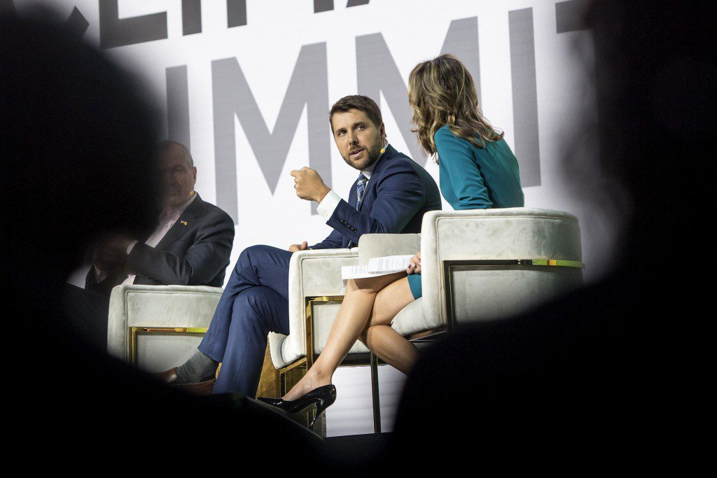 Brian Deese, global head of sustainable investing at BlackRock Inc., speaks during the Global Climate Action Summit in San Francisco, California, on Sept. 13, 2018.