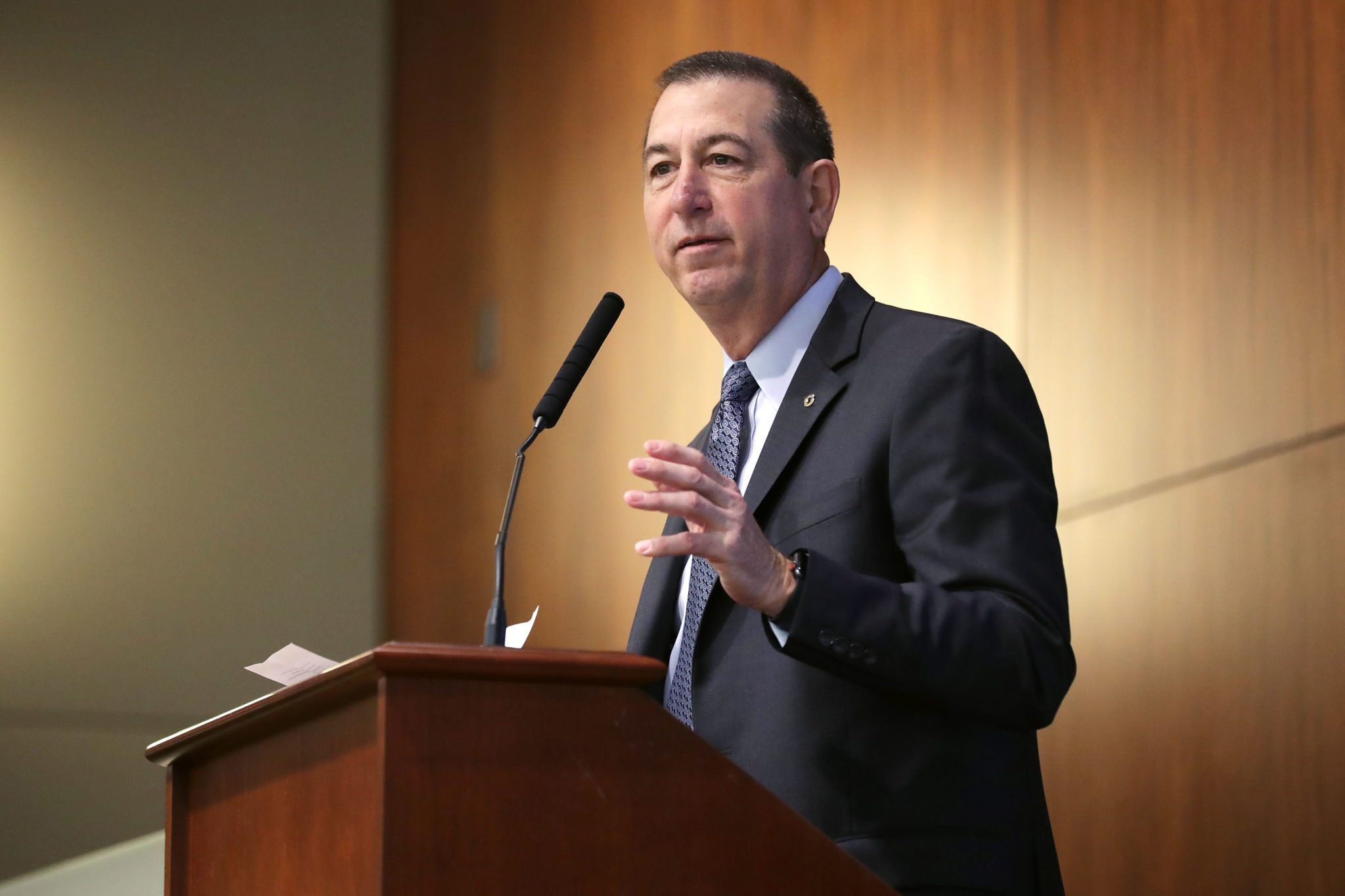 U.S. Comptroller of the Currency Joseph Otting addresses a conference on financial technology, or fintech, at the Federal Deposit Insurance Corporation April 24, 2019 in Arlington, Virginia.