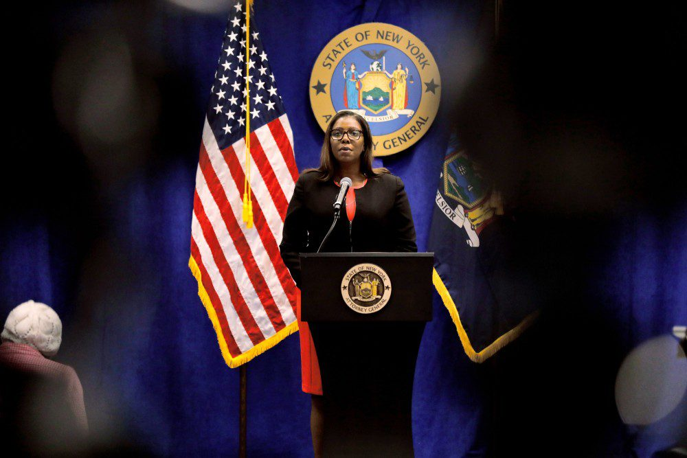 Letitia James, New York's attorney general, speaks during a news conference in New York, U.S., Thursday, Aug. 6, 2020. New York is seeking to dissolve the National Rifle Association as the state attorney general accused the gun rights group and its current and former senior officials of engaging in a massive fraud against donors. Photographer: Peter Foley/Bloomberg via Getty Images