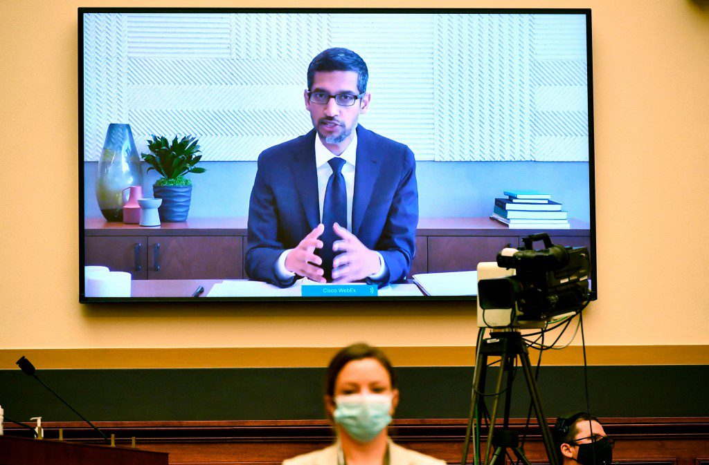 Google CEO Sundar Pichai testifies before the House Judiciary Subcommittee on Antitrust, Commercial and Administrative Law on 'Online Platforms and Market Power' in the Rayburn House office Building on Capitol Hill in Washington, DC, on 29 July 2020.