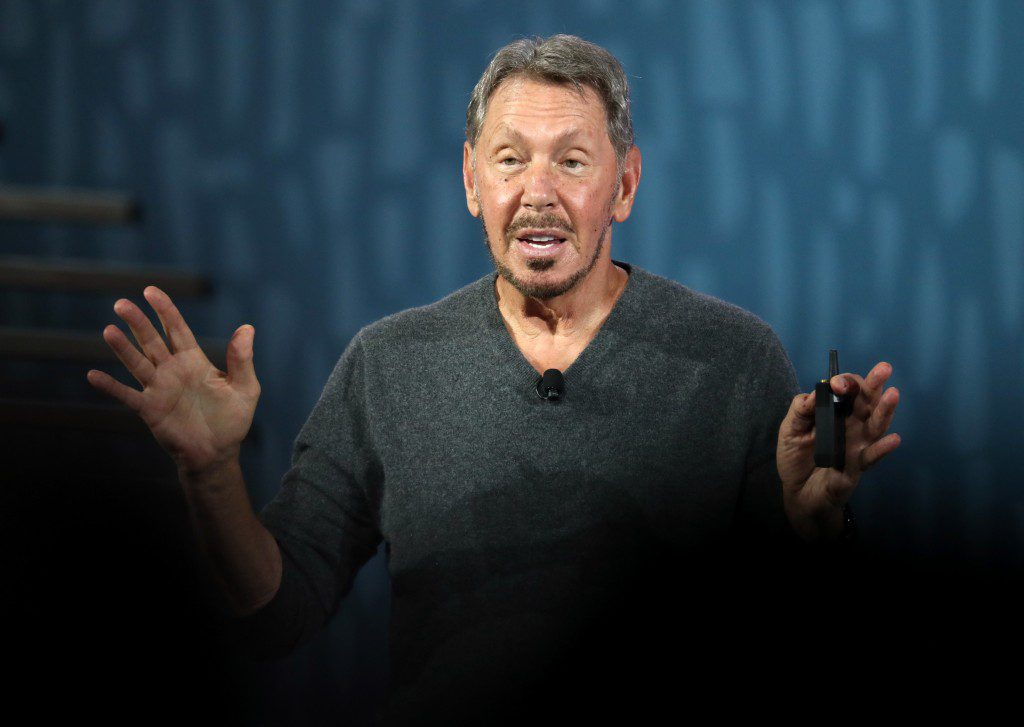 Oracle chairman of the board and chief technology officer Larry Ellison delivers a keynote address during the 2019 Oracle OpenWorld on September 16, 2019 in San Francisco, California.