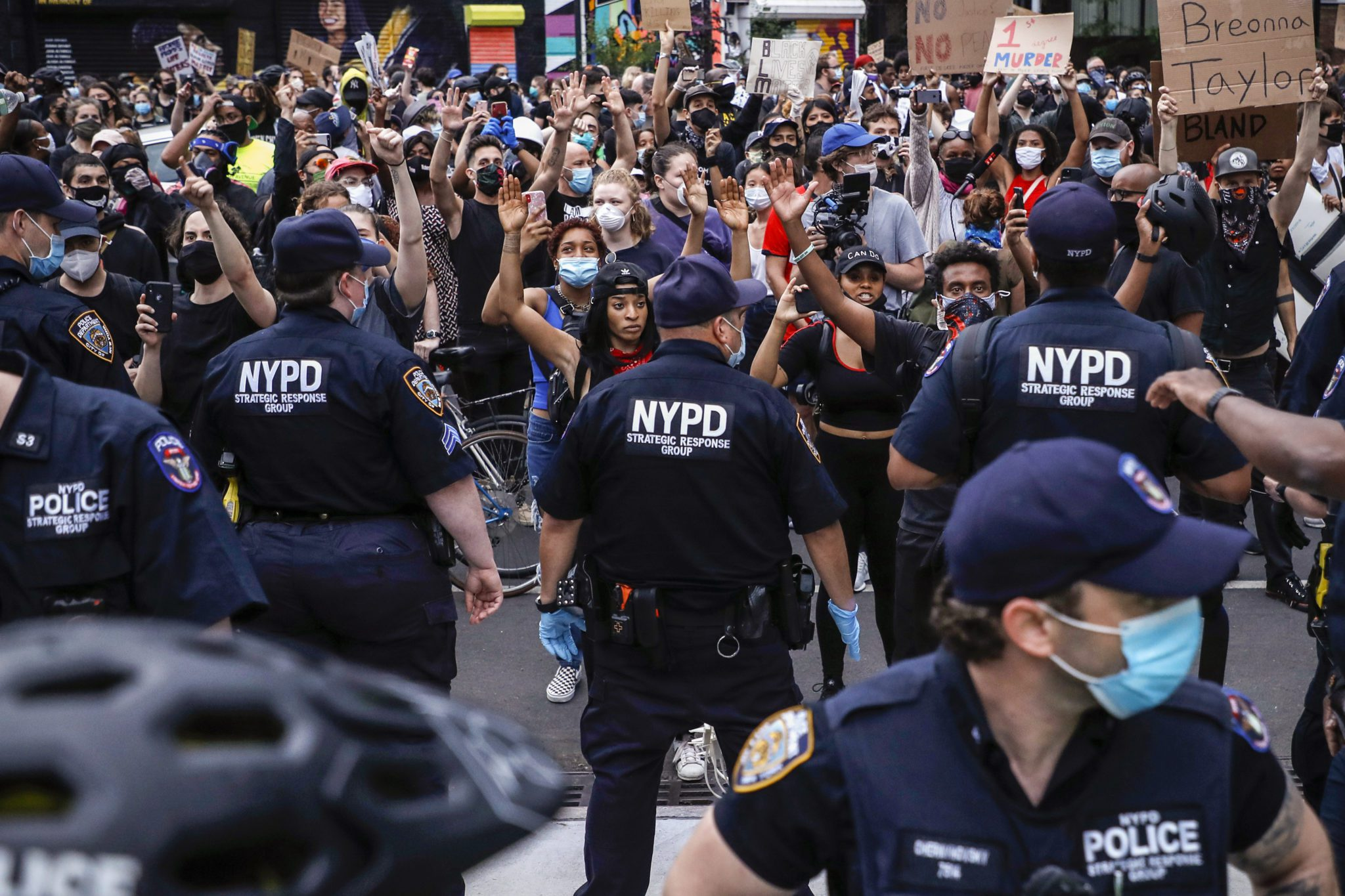 Demonstrators clash with the police in Barclays center, New York, US, on May 29, 2020 during a protest in response to the death of Minneapolis man George Floyd. The video that captured the death of George Floyd implicated the arresting officers sparking days of riots in Minneapolis Minnesota. Governor Tim Waltz (MN) called in the National guard to quell the violent riots, looting and fires. (Photo by John Lamparski/NurPhoto via Getty Images)