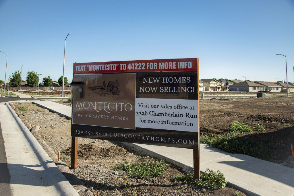 Montecito is a new suburban development of single family homes on the outskirts of Chico, Calif. on Tuesday May 4, 2021. These homes are being pushed as a solution to the housing crunch in Chico, however they are contributing to urban sprawl and often marketed to out of towners and Bay Area migrants rather than local residents. There is no affordable housing at all in the development.  Salgu Wissmath for The Intercept