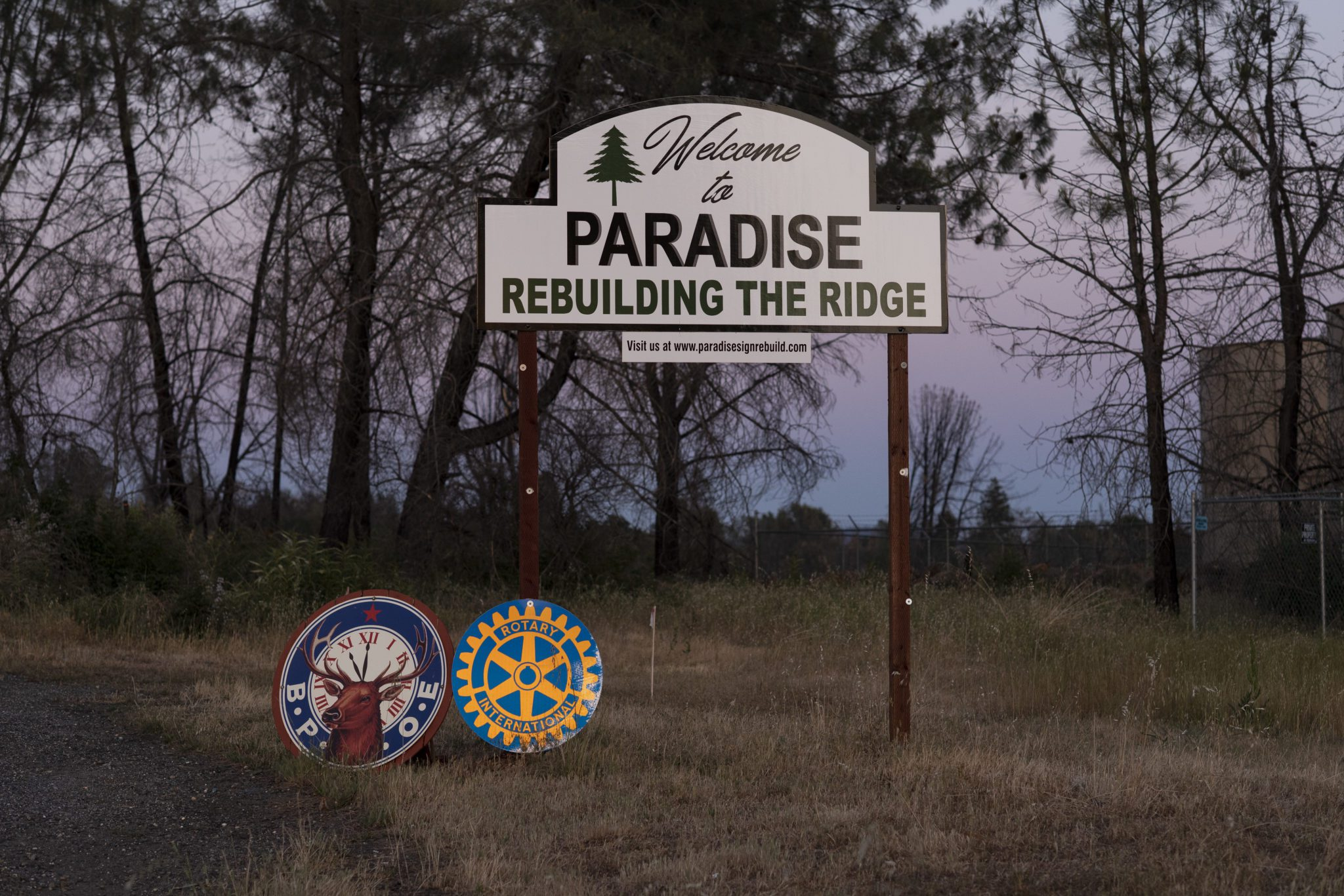 The Welcome to Paradise sign just outside Paradise, Calif. on Tuesday May 4, 2021. Salgu Wissmath for The Intercept