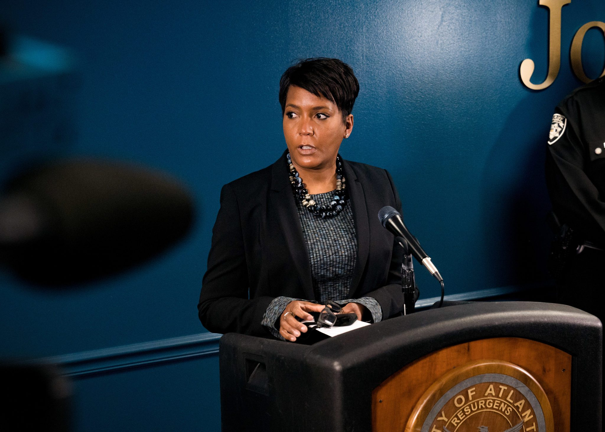 ATLANTA, GA - MARCH 17: Mayor Keisha Lance Bottoms speaks during a press conference on March 17, 2021 in Atlanta, Georgia. Suspect Robert Aaron Long, 21, was arrested after a series of shootings at three Atlanta-area spas left eight people dead on Tuesday night, including six Asian women. (Photo by Megan Varner/Getty Images)