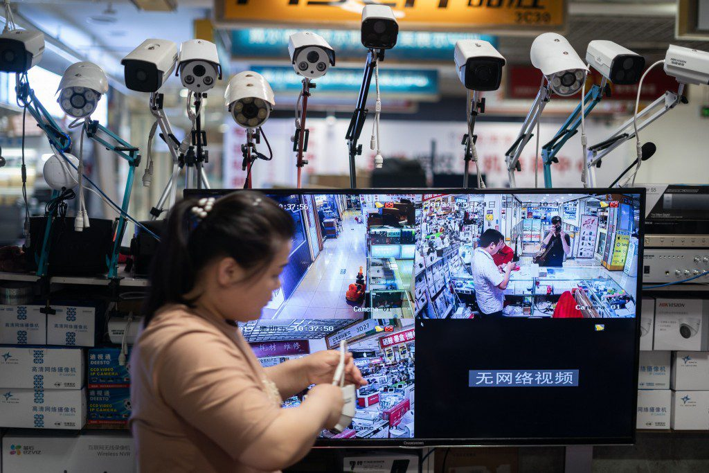 Picture of Hikvision cameras in an electronic mall in Beijing on May 24, 2019.