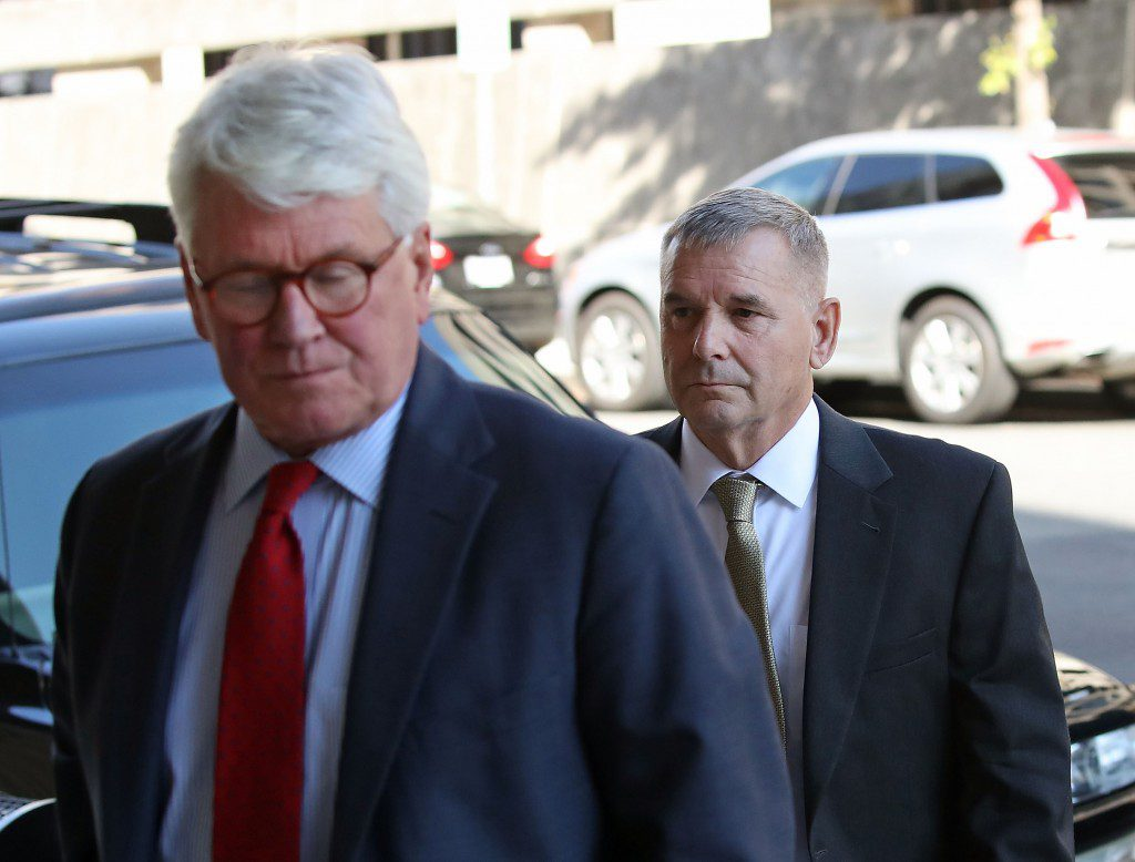 WASHINGTON, DC - OCTOBER 17: Retired Gen. James Cartwright, (R), arrives for a hearing with his attorney Greg Craig (L), at US District Court, October 17, 2016 in Washington, DC. Cartwright has charged with making false statements during a federal investigation. (Photo by Mark Wilson/Getty Images)