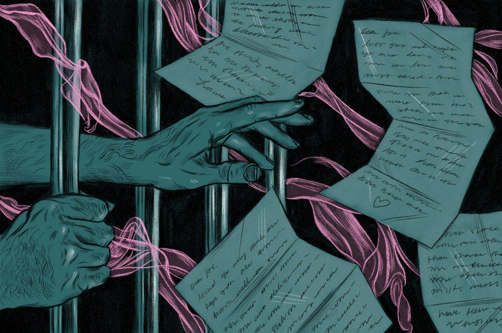 Illustration of hands try to reach letters through prison bars.